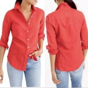 J Crew Perfect Shirt In Pink Linen